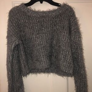 Long Sleeve Knitted Grey Cropped Sweater